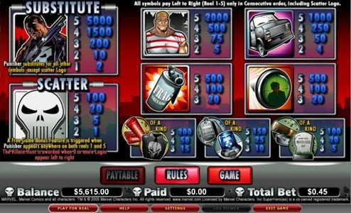 Play slots at Lucky Me Slots: Lucky Me Slots featuring the video-Slots The Punisher with a maximum payout of 5,000x