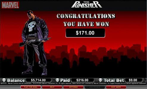 Hello featuring the video-Slots The Punisher with a maximum payout of 5,000x
