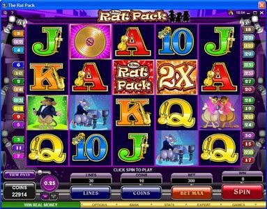 Play slots at Gala: Gala featuring the Video Slots The Rat Pack with a maximum payout of $150,000