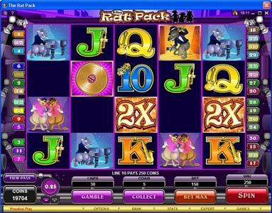 Slots Million featuring the Video Slots The Rat Pack with a maximum payout of $150,000