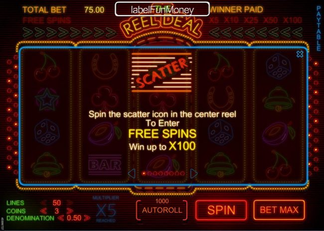 Play slots at Simba Games: Simba Games featuring the Video Slots The Reel Deal with a maximum payout of $1,500