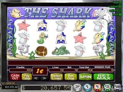 The Shark :: Main game board featuring five reels and 9 paylines with a JACKPOT max payout