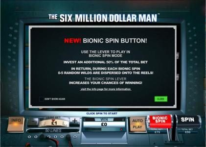 Royal Dice featuring the Video Slots The Six Million Dollar Man with a maximum payout of $200,000