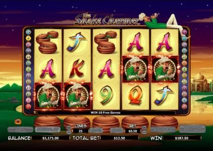 Casino Red Kings featuring the Video Slots The Snake Charmer with a maximum payout of $10,000