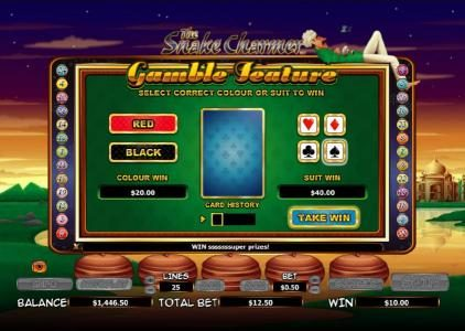 gamble feature game board - select correct color or suit to win
