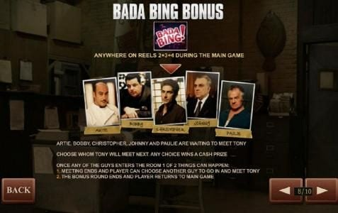 Bada Bing Bonus anywhere on reels 2+3+4 during main game play