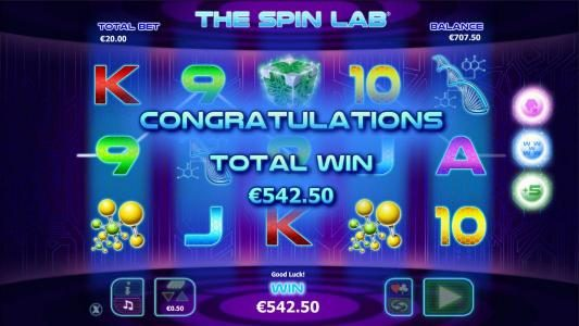 Bonus game feature pays out a total of €542 for a big win!