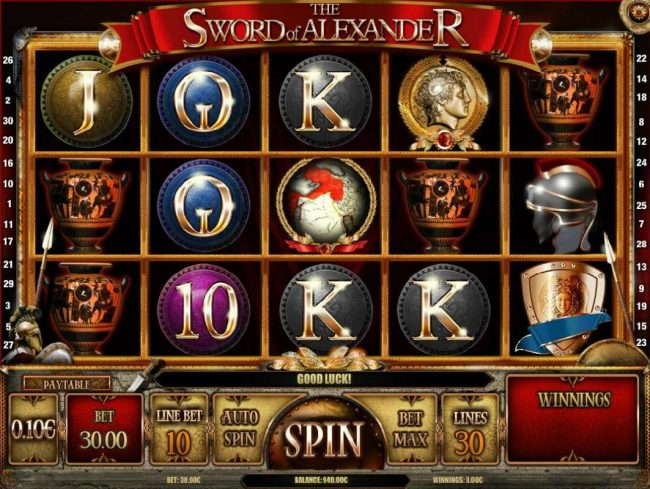 emu Casino featuring the Video Slots The Sword of Alexander with a maximum payout of $10,000