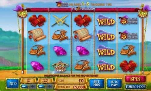 Lota Play featuring the Video Slots The Three Muskateers with a maximum payout of $25,000