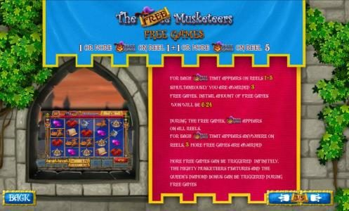 EuroMax Play featuring the Video Slots The Three Muskateers with a maximum payout of $25,000