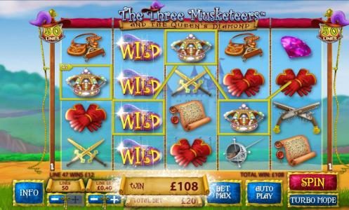 Casino King featuring the Video Slots The Three Muskateers with a maximum payout of $25,000