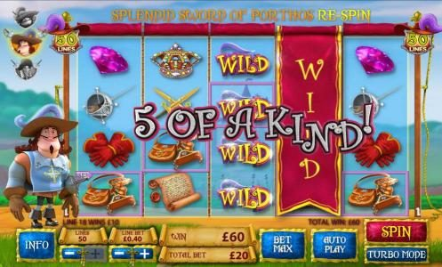 Wilds lead to a five of kind