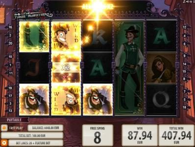 Casino-X featuring the Video Slots The Three Musketeers with a maximum payout of $15,000