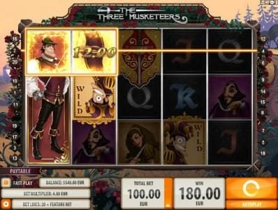 Yoyo featuring the Video Slots The Three Musketeers with a maximum payout of $15,000