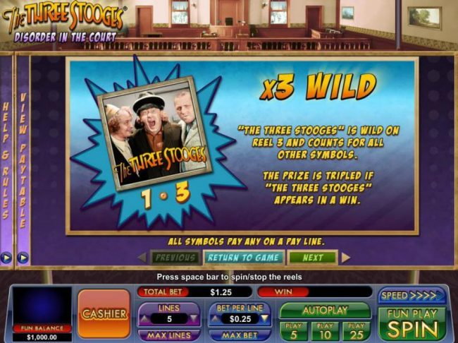 Slot Madness featuring the Video Slots The Three Stooges Disorder in the Court with a maximum payout of $83.25