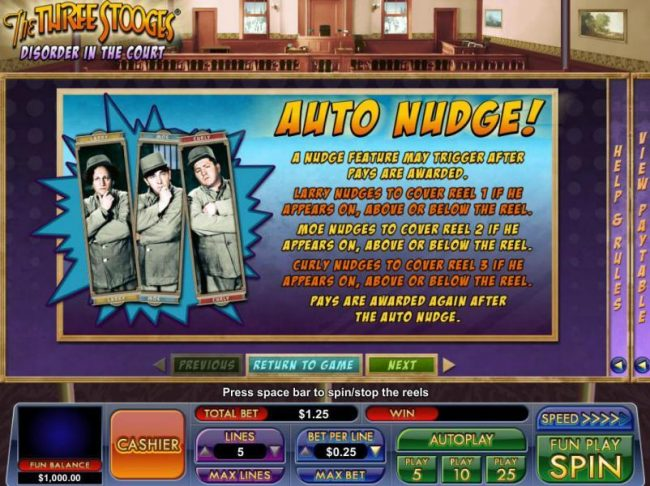 BuzzLuck featuring the Video Slots The Three Stooges Disorder in the Court with a maximum payout of $83.25