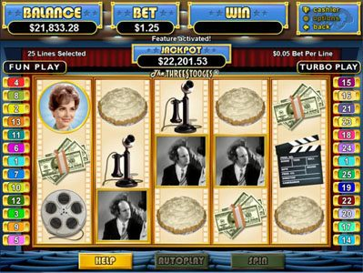 Mega 7's featuring the Video Slots The Three Stooges with a maximum payout of $250,000