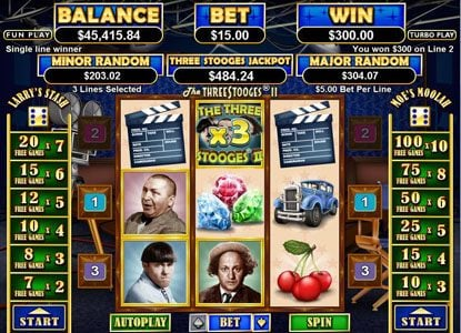 Play slots at Real Vegas Online: Real Vegas Online featuring the Video Slots The Three Stooges II with a maximum payout of $250,000