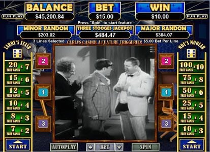 Winners Playground featuring the Video Slots The Three Stooges II with a maximum payout of $250,000