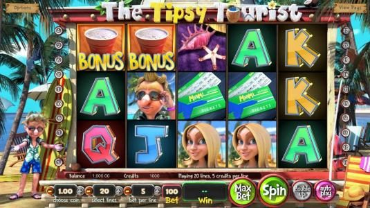Gossip Slots featuring the Video Slots The Tipsy Tourist with a maximum payout of $8,750