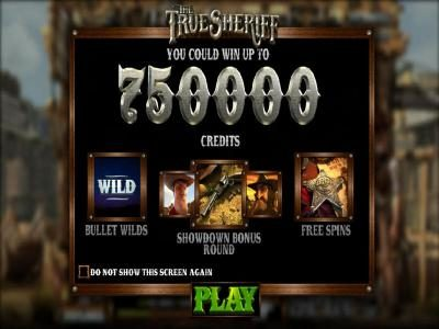 BetOnline featuring the Video Slots The True Sheriff with a maximum payout of $7,500