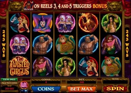 Casimba featuring the Video Slots The Twisted Circus with a maximum payout of 83,200