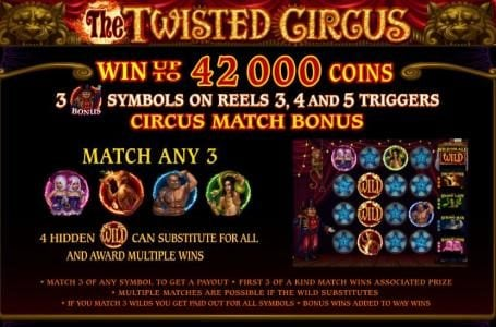 King Neptunes featuring the Video Slots The Twisted Circus with a maximum payout of 83,200