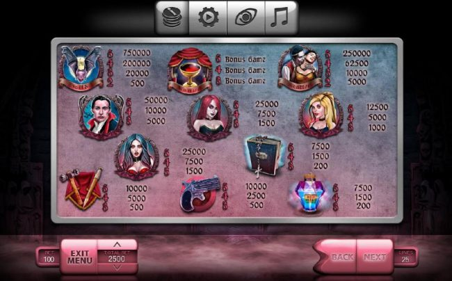 Crystal featuring the Video Slots The Vampires with a maximum payout of $250,000