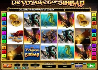 The Voyages of Sinbad :: Main game board featuring five reels and 20 paylines with a $20,000 max payout