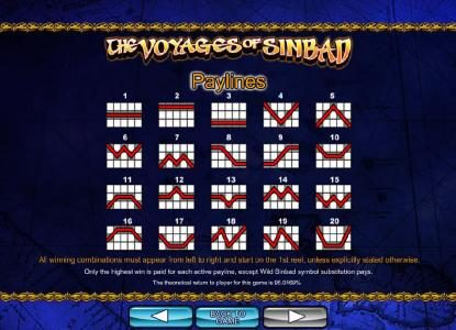 The Voyages of Sinbad :: Payline Diagrams 1-20