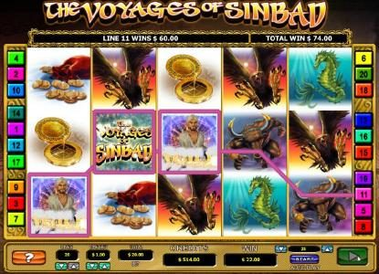 The Voyages of Sinbad :: Three of a kind triggers a $60 line pay