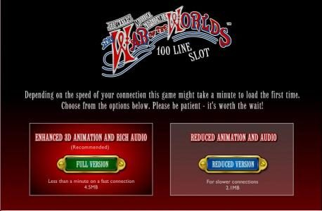 The War Of The Worlds :: Choose full version for enhanced 3d animations and rich audio or reduced version for slower connections