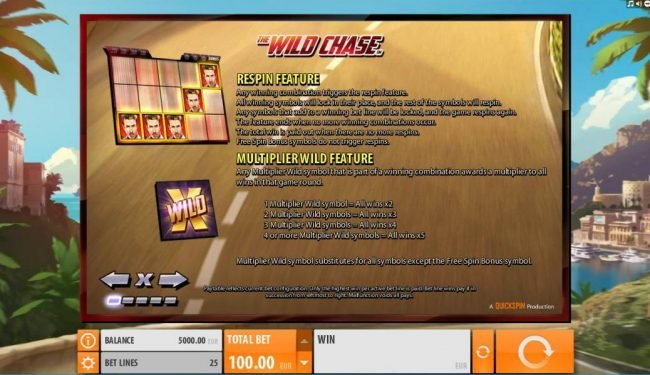 Come On featuring the Video Slots The Wild Chase with a maximum payout of $1,000