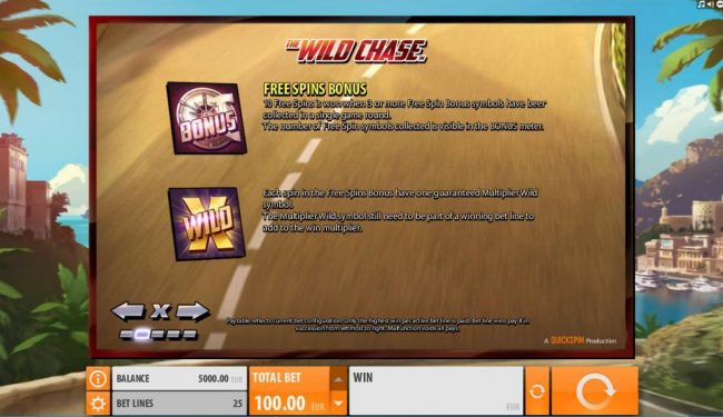 Wintingo featuring the Video Slots The Wild Chase with a maximum payout of $1,000