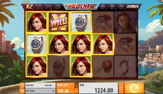 Dreamy 7 featuring the Video Slots The Wild Chase with a maximum payout of $1,000