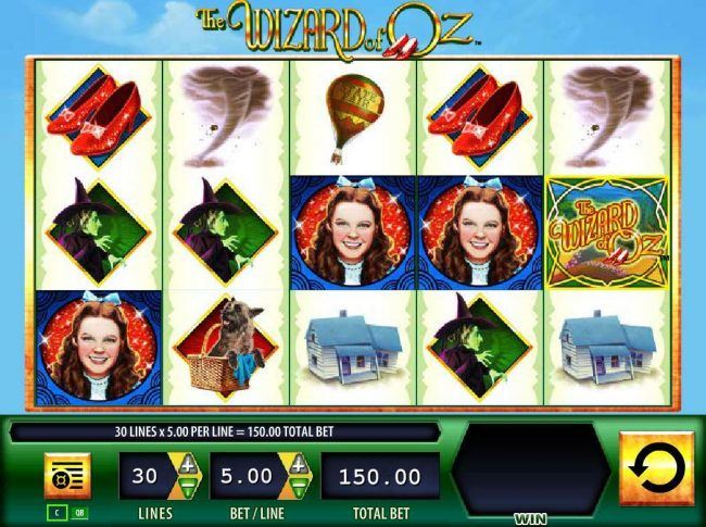 The Wizard of Oz :: Main game board featuring five reels and 30 paylines with a $50,000 max payout