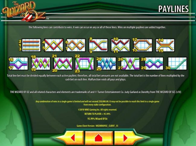 The Wizard of Oz :: Payline Diagrams 1-30
