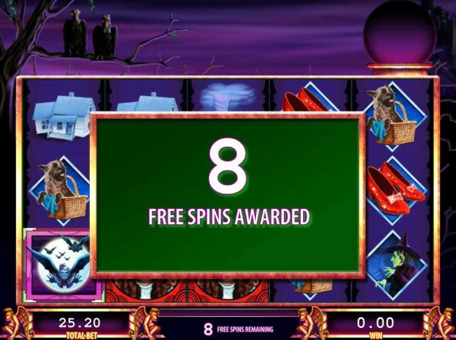 The Wizard of Oz :: 8 Free spins awarded.