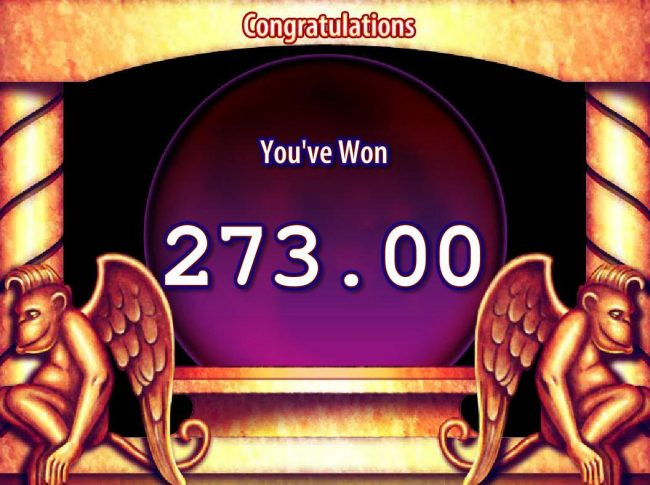 The Wizard of Oz :: Free Spins feature pays out a total of 273.00