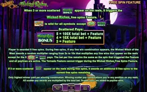 The Wizard of OZ Wicked Riches :: free spin feature