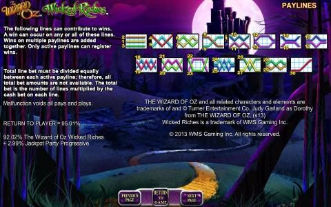 The Wizard of OZ Wicked Riches :: payline diagrams