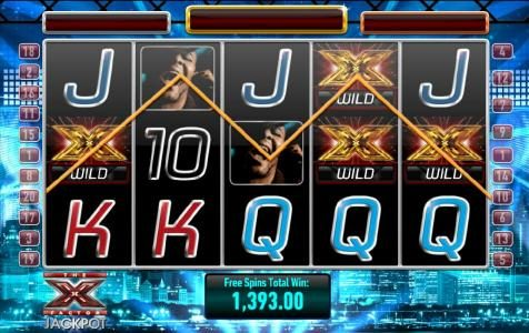 five of a kind triggers a 1393 coin big win during free spins bonus feature.