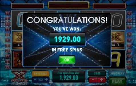 the free spins bonus feature paid out 1929 coins