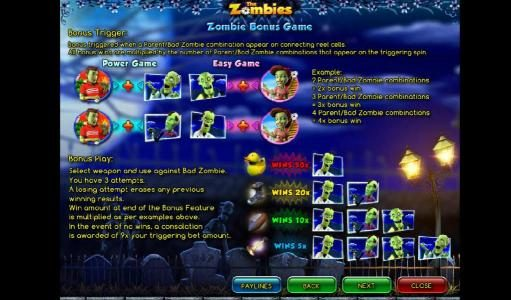 VIP Casino featuring the Video Slots The Zombies with a maximum payout of $12,500