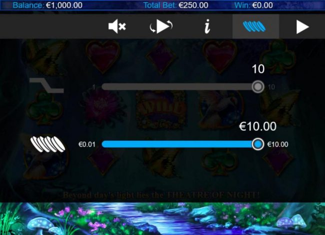 Click on the side menu button to adjust the Lines or Coin Size.