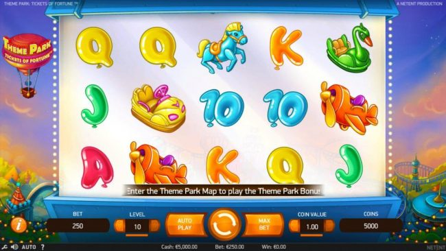 Vegas Baby featuring the Video Slots Theme Park Tickets of Fortune with a maximum payout of $75,300