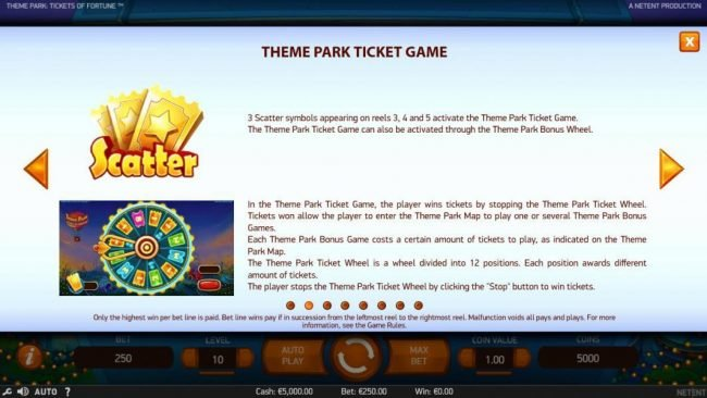Free Spins featuring the Video Slots Theme Park Tickets of Fortune with a maximum payout of $75,300