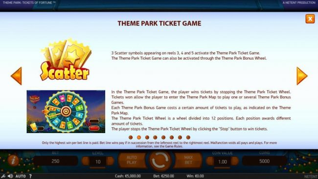 Betting Ways featuring the Video Slots Theme Park Tickets of Fortune with a maximum payout of $75,300