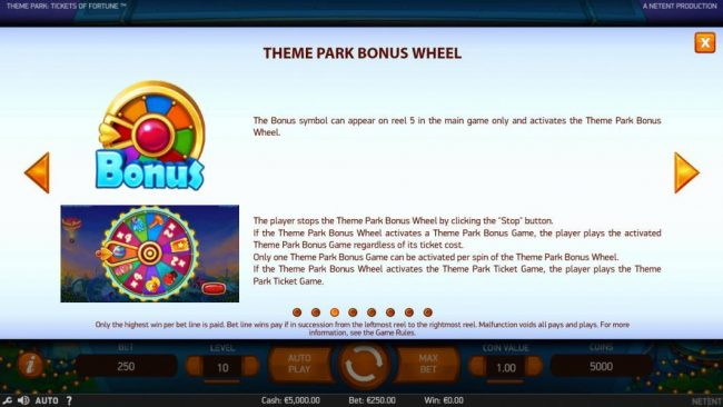 Spinzilla featuring the Video Slots Theme Park Tickets of Fortune with a maximum payout of $75,300