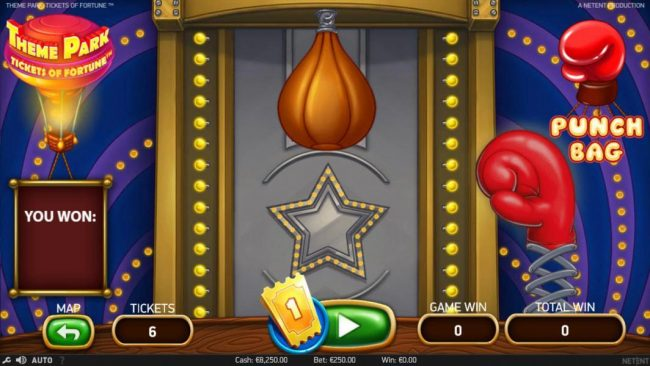 Instacasino featuring the Video Slots Theme Park Tickets of Fortune with a maximum payout of $75,300
